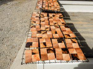 木製コースター乾燥中